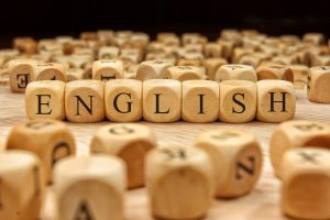 """Tiled letters spell out """"English"""""""