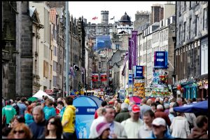 Crowds of people on Edinburgh's Royal Mile during the Festival Fringe