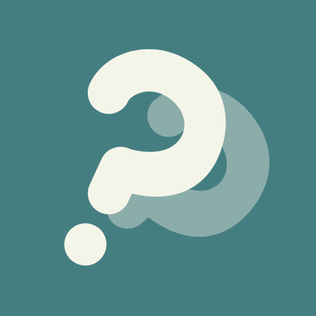 White question mark on jade green background