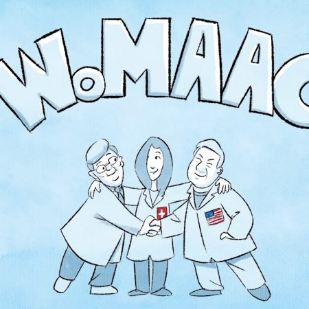 WoMAAC animation still, depicting the three lead researchers as cartoons